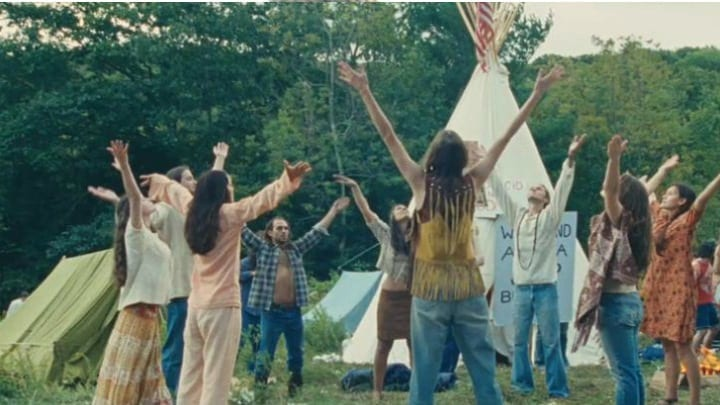 A Group Gathers To Practice A Mediation Or Spirtual Ritual at Woodstock