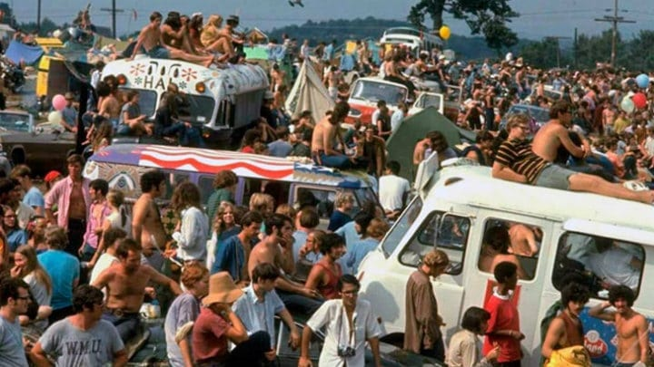 The Sea Of Concert Goers Makes For An Amazing Photo To Show The Density Of The Crowd at Woodstock