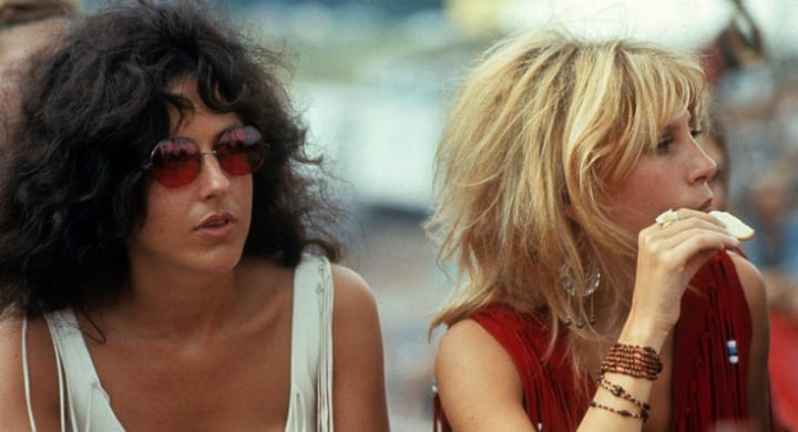 Sally Mann and Grace Slick at Woodstock