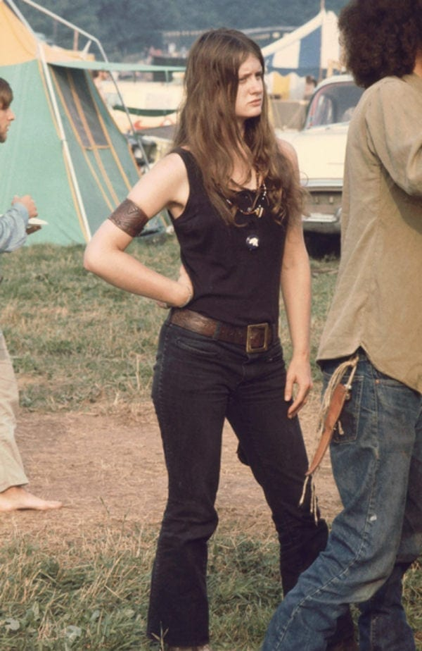 Woman Wearing a Black Number at Woodstock