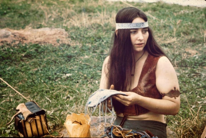 Woman Sewing Crafts at Woodstock