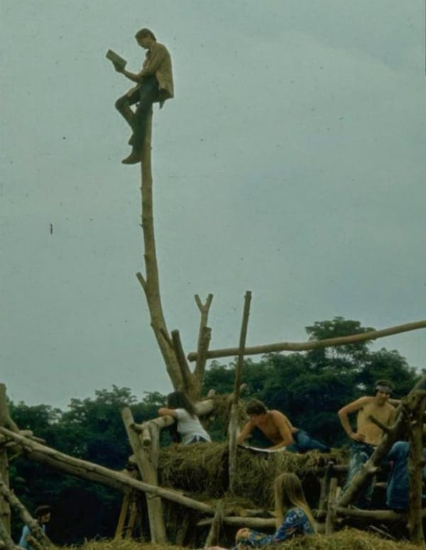 Man Perched in Sky at Woodstock Reading Book
