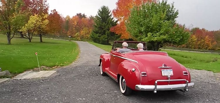 driving off wedding video dream car plymouth convertible